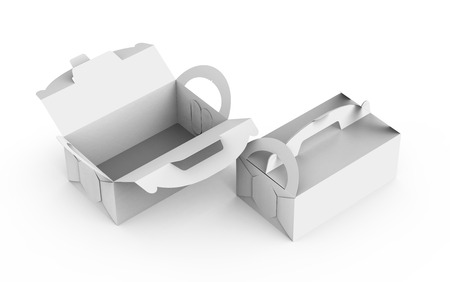 Blank box with handle, gift or food carton package set in 3d render for design uses, elevated view