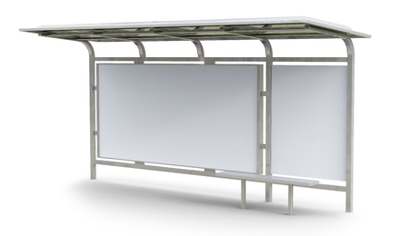 3D render bus shelter, blank copy space for advertising or promotional content, bus station billboard Stockfoto