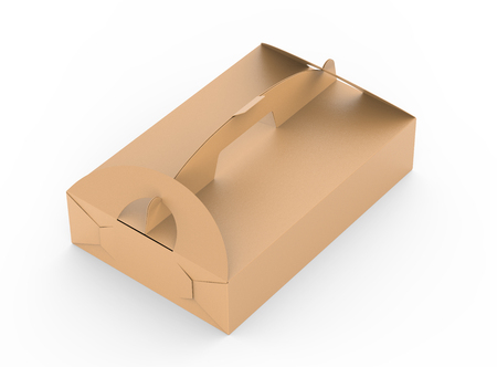 Kraft box with handle, elevated view of gift or food carton package in 3d render for design uses 免版税图像
