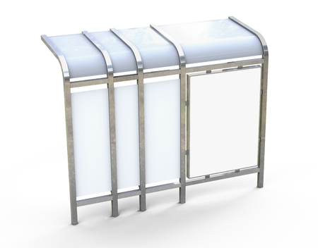 3D render bus shelter, blank copy space for advertising or promotional content, back view of bus station billboard in silver