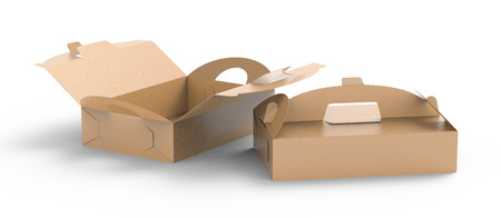 Kraft box with handle, gift or food carton package set in 3d render for design uses, elevated view