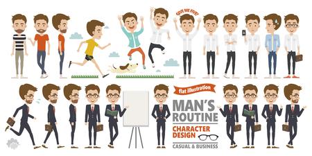 Mans routine character design Illustration