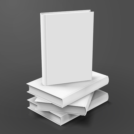 Blank hardcover books piled up Illustration