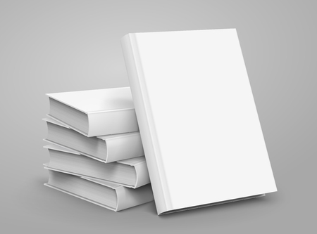 Blank hardcover books piled up Vectores