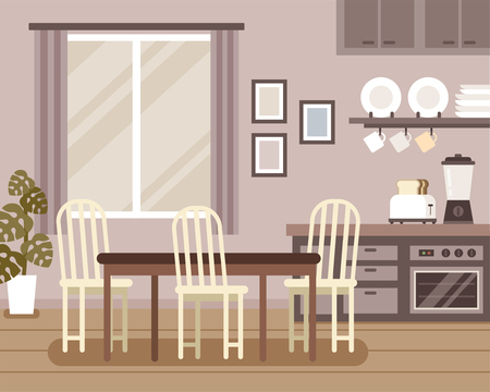 Interior scene dining room and kitchen decorations
