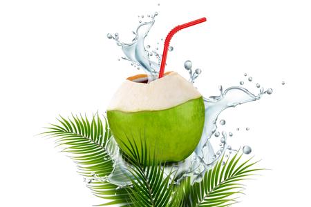 Acqua di cocco con spruzzi di bevande e paglia nell'illustrazione 3d su plam lascia lo sfondo bianco Vettoriali