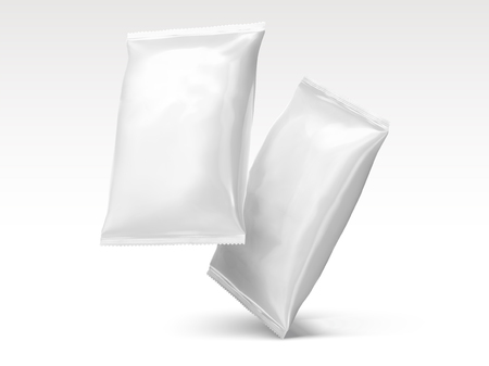 Blank chip packages design in 3d illustration Çizim