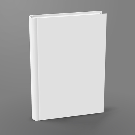 Blank hardcover book standing on grey background in 3d illustration