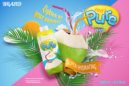 Coconut water with refreshing liquid splashing out from the fruit with red straw in 3d illustration