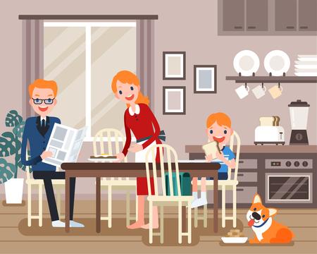 Beaux personnages de la famille prenant le petit déjeuner ensemble dans un design plat Vecteurs