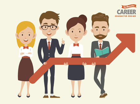 Career characters set with colleagues holding upgrowing arrow