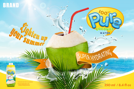 Coconut water with refreshing liquid splashing out from the fruit with red straw