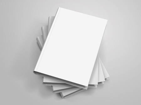 Blank hardcover books pile up on light grey background