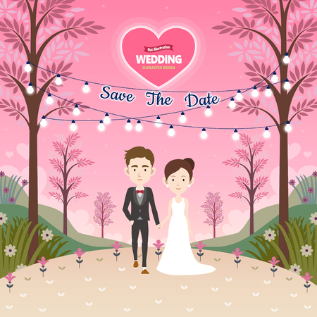 Save the date wedding template character design in flat style