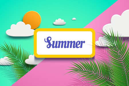 Vivid summer design in paper art with palm tree leaves and sun on geometric background in 3d illustration