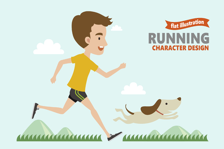 Running young man with his dog in flat design Illustration