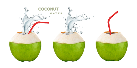 Coconut water set with splashing drink and straw in 3d illustration on white background