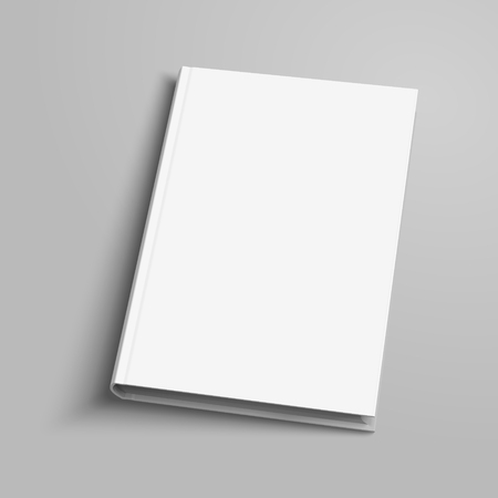 Blank hardcover book on light grey background in 3d illustration