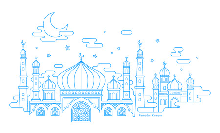 Ramadan Kareem calligraphy with thin line style mosque scenery on white background