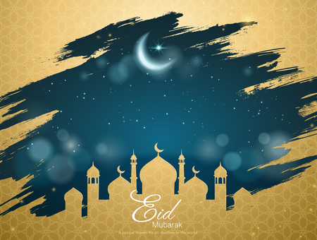 Eid Mubarak card with golden mosque frame and bokeh starry night space for greeting words