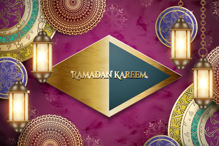 Ramadan Kareem greeting words on glossy rhombus plate with hanging lanterns and exquisite floral elements, fuchsia background Illustration