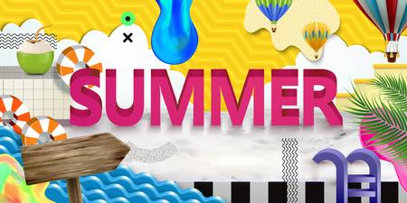 Vivid summer poster with paper art scene