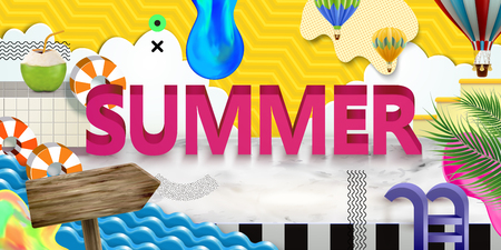 Vivid summer poster with paper art scene
