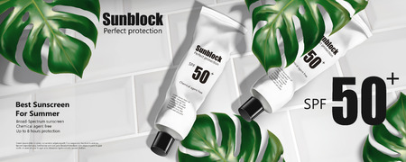 Sunblock tube ads on white tiles with tropical leaves, 3d illustration