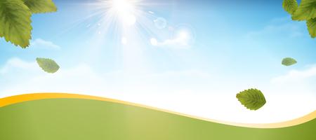 Blue sky and green leaves banner design in 3d illustration Illustration