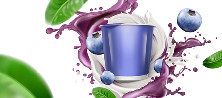 Blank cup with swirling yogurt or milk and fresh blueberries on white background in 3d illustration