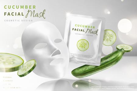 Masque facial au concombre avec des ingrédients en illustration 3d, fond blanc perle de paillettes
