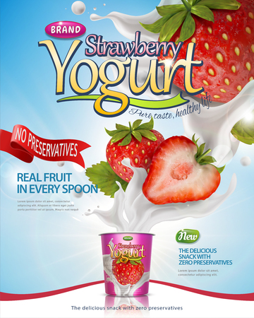 Strawberry yogurt poster with splashing fillings and fruit on blue lighting background in 3d illustration