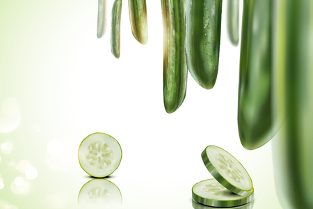Refreshing cucumber background with whole and sliced one in 3d illustration