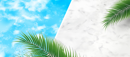 Summer swimming pool background with palm tree leaves and marble stone texture in 3d illustration Illustration
