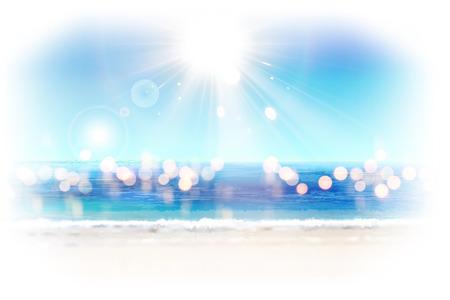 Bokeh glitter ocean resort background with bright sunshine in 3d illustration