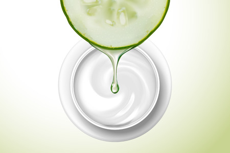 Top view of cream jar with cucumber dripping serum in 3d illustration