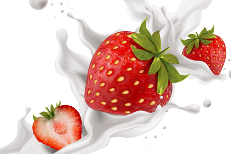Close up look at splashing strawberry yogurt with fresh fruit in 3d illustration