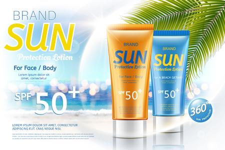 Sunscreen tube product on bokeh summer resort background in 3d illustration