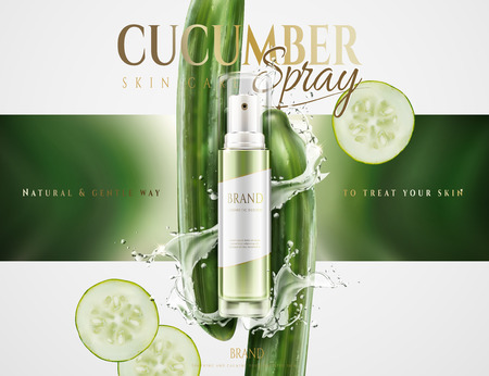 Cucumber skin care spray with splashing water and ingredients in 3d illustration