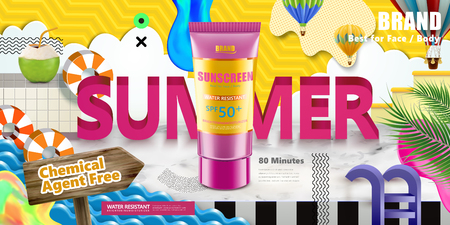 Sunscreen tube on colorful paper cut summer scene in 3d illustration Ilustracja