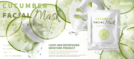 Cucumber facial mask with ingredients and foil pack in 3d illustration, sliced moisture vegetables Banco de Imagens - 101478304