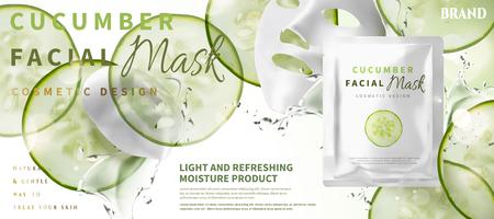 Masque facial au concombre avec des ingrédients et un pack de papier d'aluminium en illustration 3d, légumes en tranches d'humidité