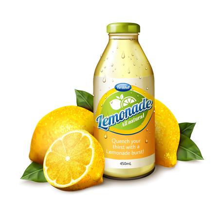 Isolated lemonade juice in glass bottle with fresh fruit in 3d illustration