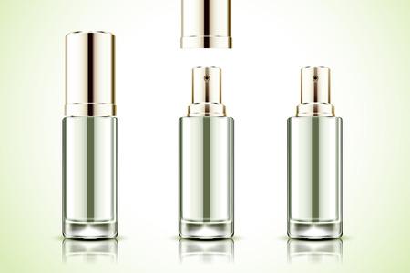Blank spray bottle mockup in 3d illustration on light green background