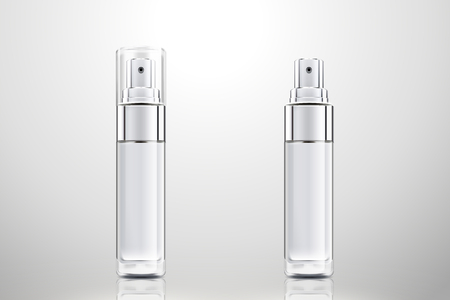 Cosmetic spray bottles set in 3d illustration on light grey background
