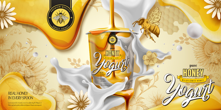Anuncio de delicioso yogur de miel con ingrediente goteando desde la parte superior en la ilustración 3d, fondo de estilo de grabado