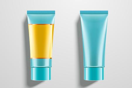 Cosmetic blue tubes set in 3d illustration on light grey background