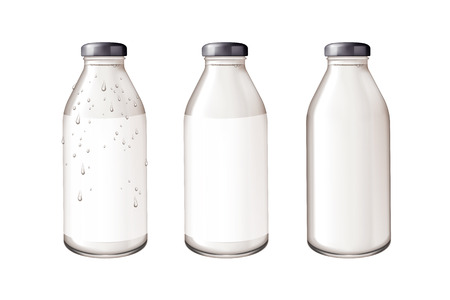 Blank glass bottle mockup in 3d illustration on white background