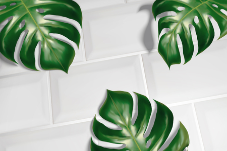 Summer background with tropical leaves on white tiles in 3d illustration