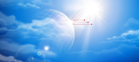 Blue sky with sun reflection symbol in 3d illustration
